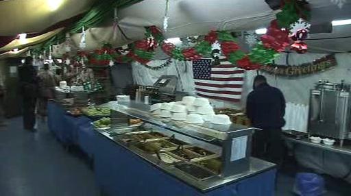 Vánoční výzdoba vojenské jídelny