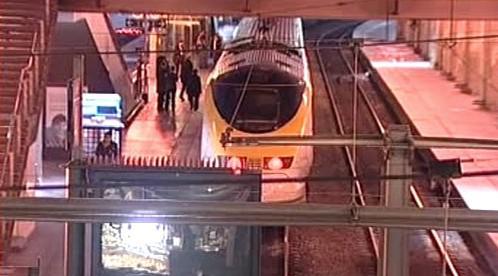 Rychlovlak Eurostar ve stanici