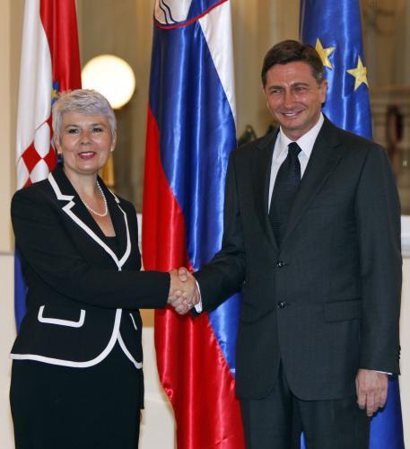 Jadranka Kosorová a Borut Pahor