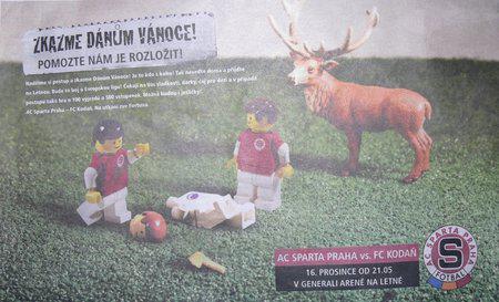 Reklama na zápas Sparta - Kodaň