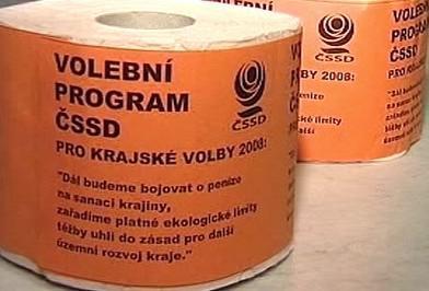 Volební program ČSSD na toaletním papíře