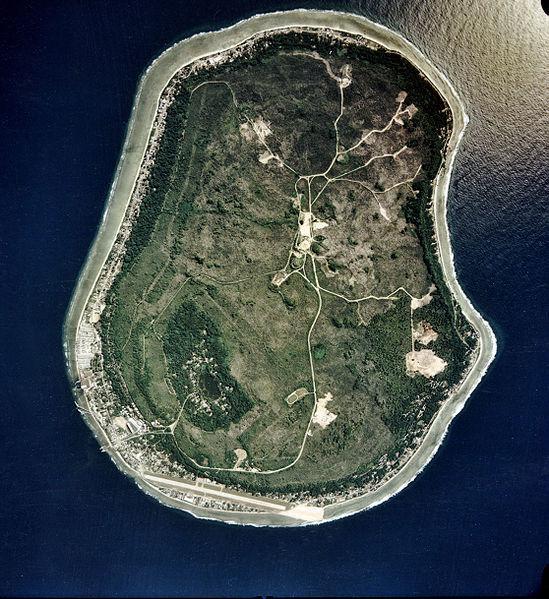 Satelitní snímek ostrova Nauru