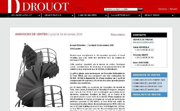 Aukční síň Drouot dražila originální schody z Eiffelovy věže