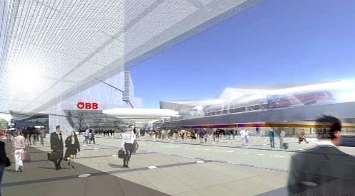 Vizualizace nového nádraží ve Vídni