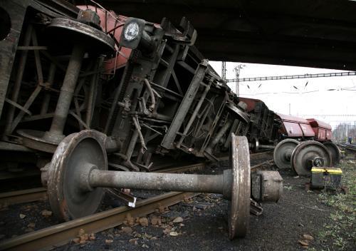 Vykolejený vlak u Nového Sedla