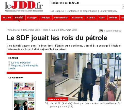 Le Journal du Dimanche o bezdomovci Jamelovi