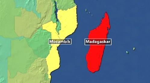 Mapa Madagaskaru a Mosambiku