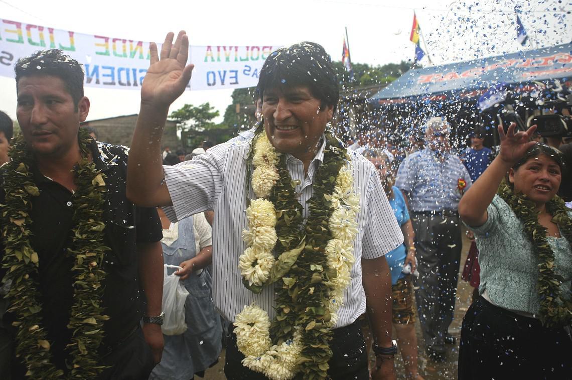 Evo Morales při prezidentských volbách