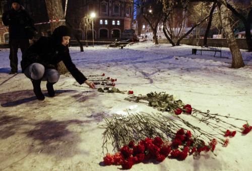 Květiny před klubem v Permu
