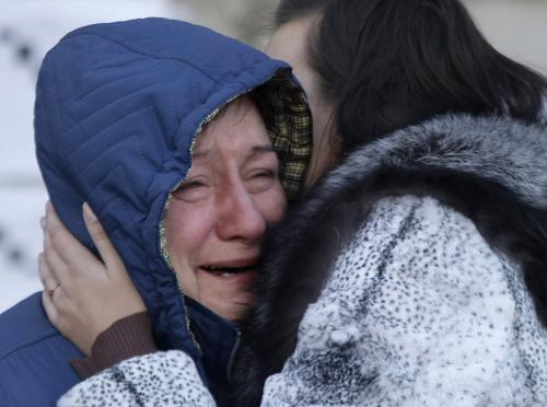 Pozůstalí obětí požáru v Permu