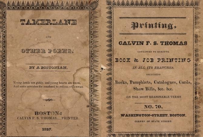 Výtisk první knihy Edgara Allana Poea
