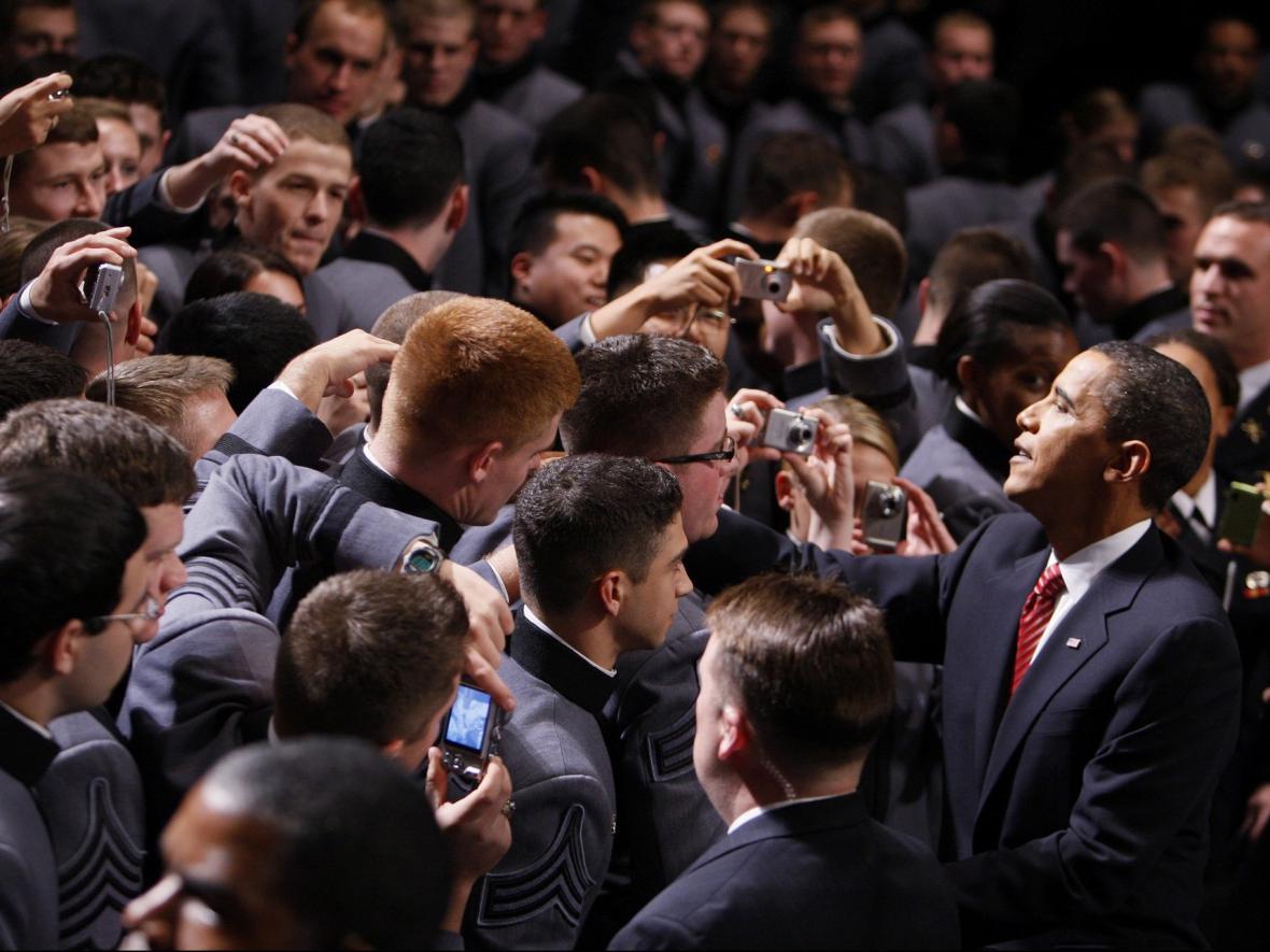 Prezident Obama po projevu na West Point