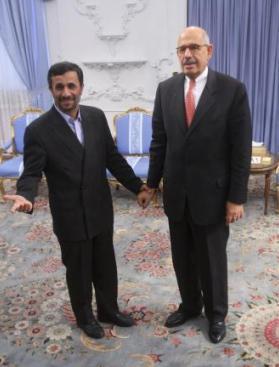 Mahmúd Ahmadínežád a Muhammad Baradej