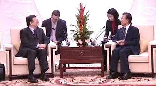 José Manuel Barroso a Wen Ťia-pao