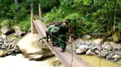Lávka na hranici Kolumbie a Venezuely