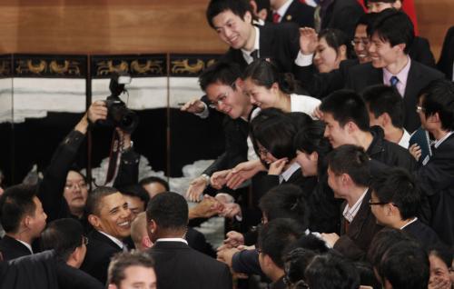 Barack Obama při setkání s čínskými studenty