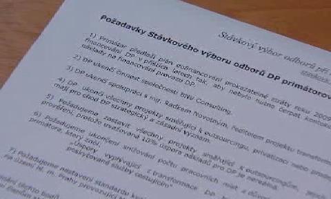 Požadavky stávkového výboru DPP