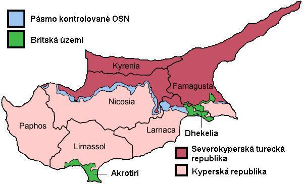 Mapa území na Kypru