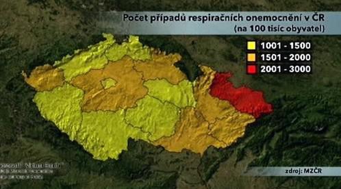 Počet onemocnění chřipkou v ČR