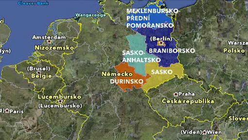 Mapa východního Německa