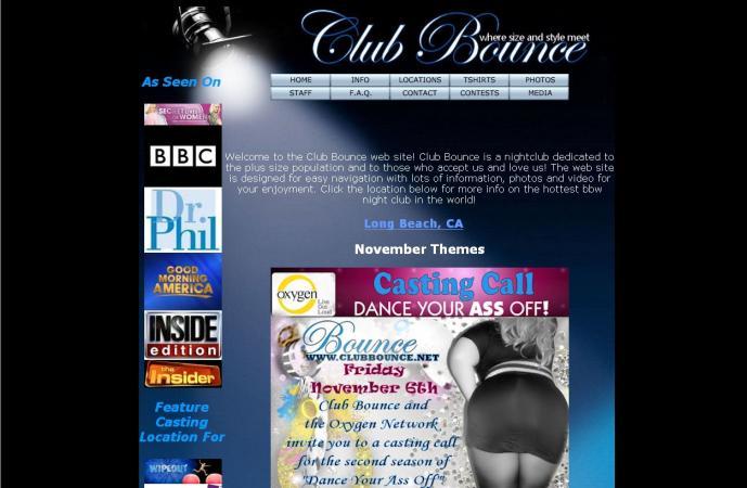 Webové stránky Club Bounce
