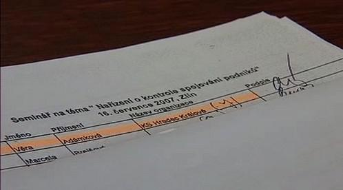 Podpis na prezenční listině
