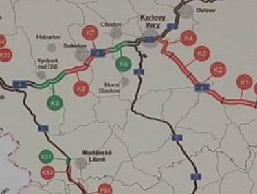 Mapa plánované silnice R6