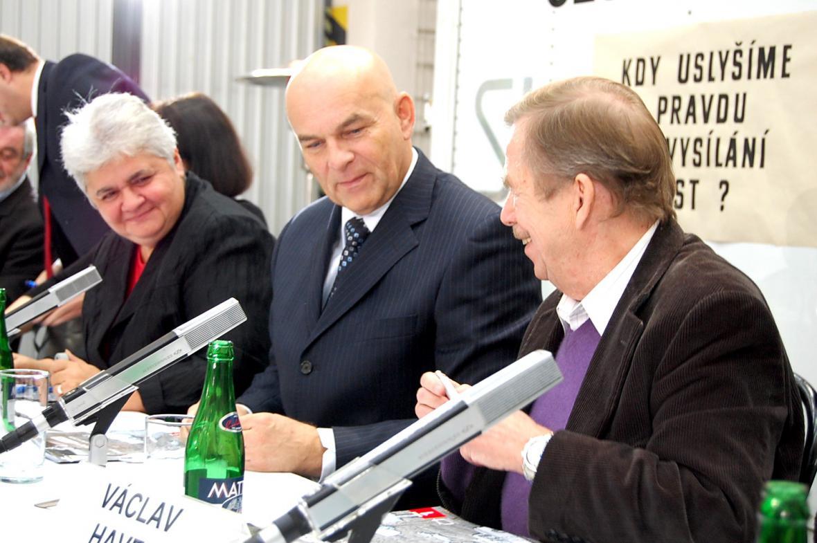 Kateřina Fričová, Jiří Janeček a Václav Havel