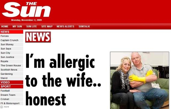 The Sun o Britovi alergickém na manželku