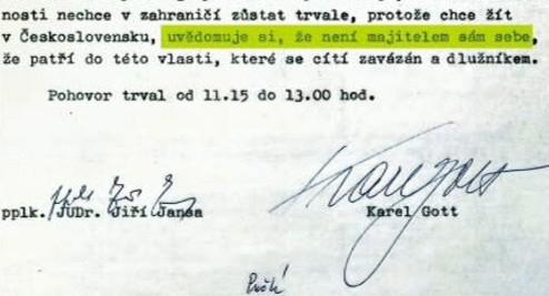 Protokol o výslechu Karla Gotta