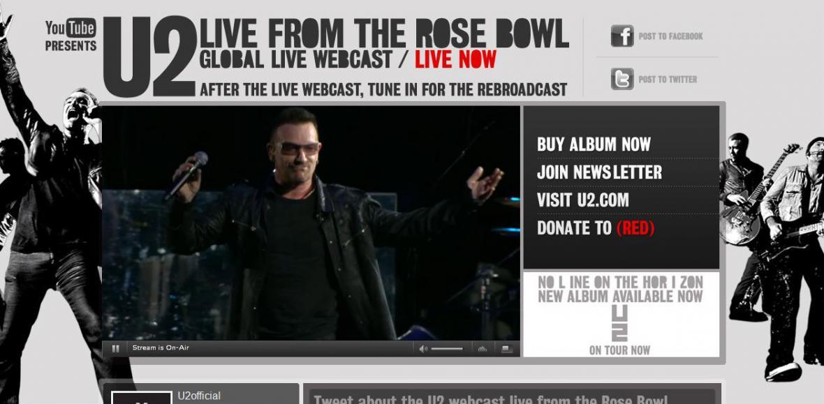 Přenos koncertu U2 po YouTube