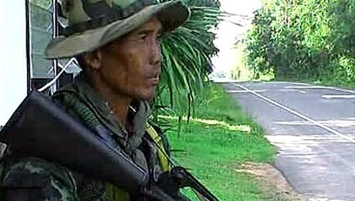 Voják na thajsko-kambodžské hranici
