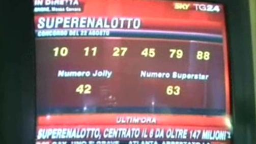 Výherní čísla v italské loterii