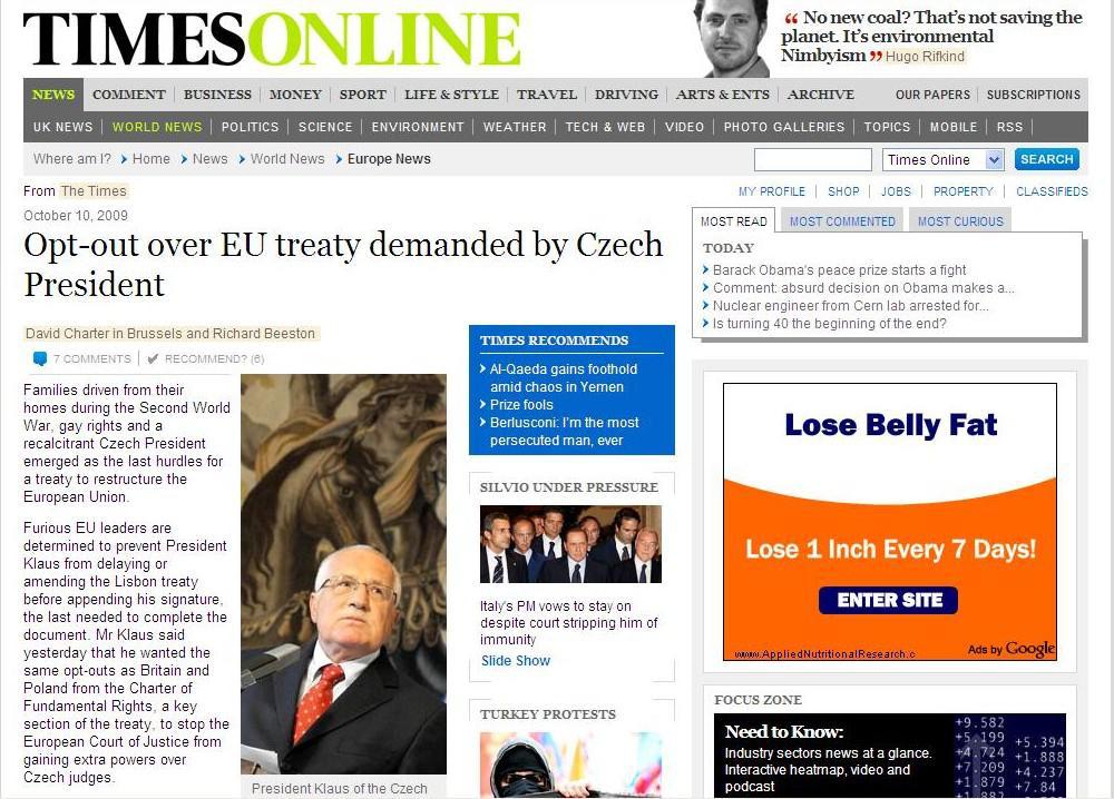Internetová verze deníku The Times