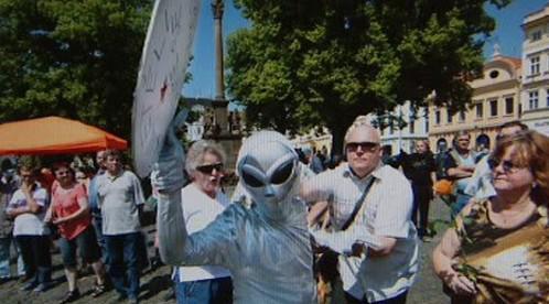 Marťan na mítinku ČSSD