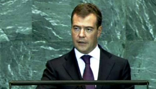 Dmitrij Medveděv při projevu v OSN