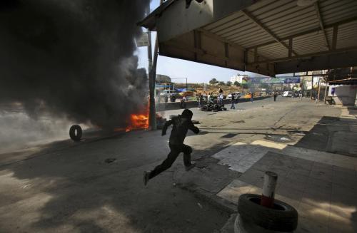 Demonstrace Palestinců v Jeruzalémě