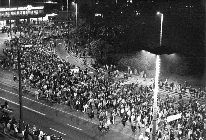 Demonstrace v Lipsku v říjnu 1989