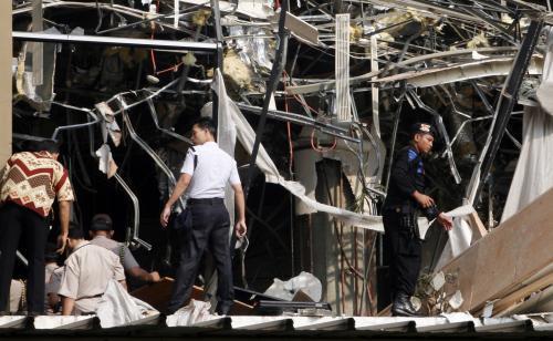 Následky výbuchu v Jakartě