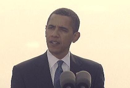 Barack Obama během projevu
