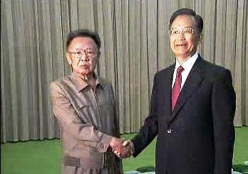 Kim Čong-il a Wen Ťia-pao