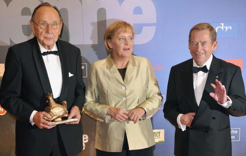 Václav Havel při předávaní mediální ceny Zlatá slepice