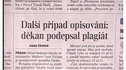 Článek v Lidových novinách