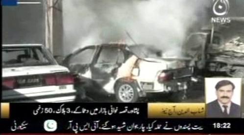Následky útoku v Péšávaru