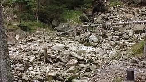 Vyschlé koryto potoka v Krkonoších