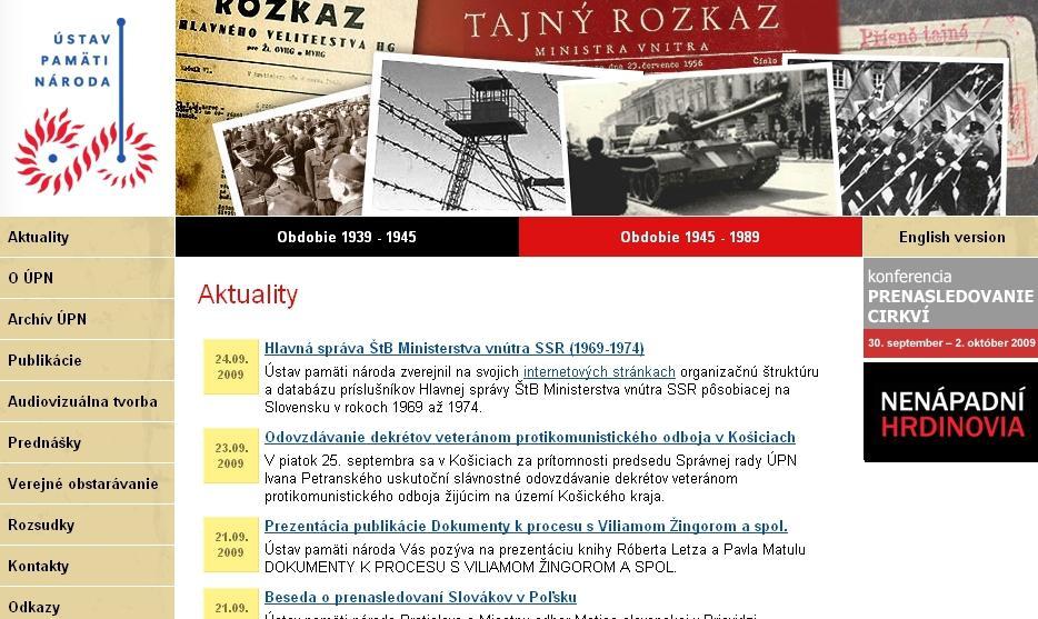 Webové stránky slovenského ÚPN