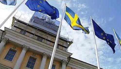 Vlajky EU a Švédska
