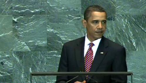 Barack Obama při projevu v OSN