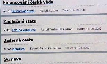 Témata na webu Změňpolitiku.cz