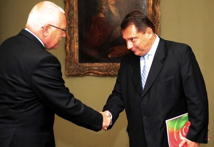 Setkání prezidenta Klause s Jiřím Paroubkem